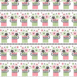 Flower Jugs Pattern Tea Towel