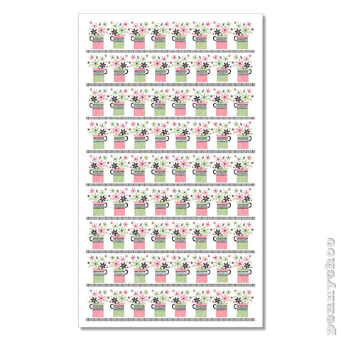Primavera Tea Towel: Flower Jugs Grid
