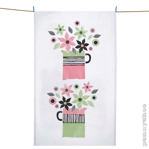 Flower Jugs Tea Towel