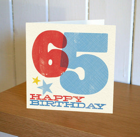 Woodblock 65th Birthday Card