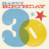 Woodblock 30th Birthday Card