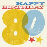 Woodblock 80th Birthday Card