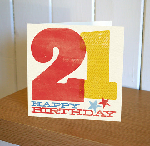 Woodblock 21st Birthday Card
