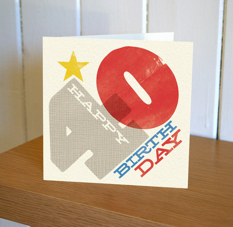 Woodblock 40th Birthday Card