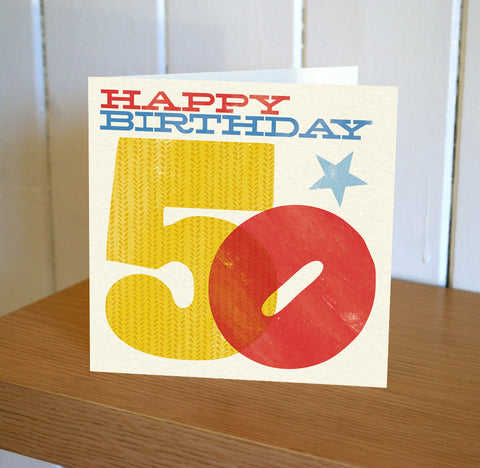Woodblock 50th Birthday Card