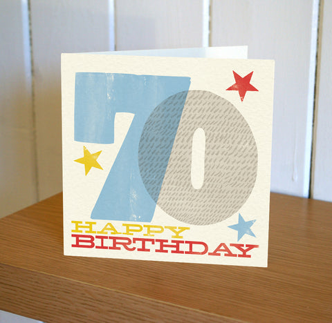 Woodblock 70th Birthday Card