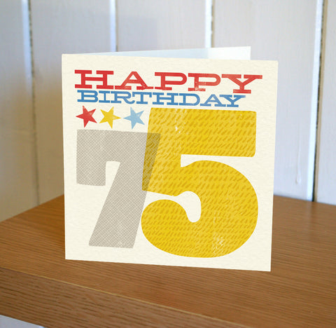 Woodblock 75th Birthday Card