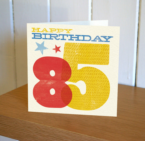 Woodblock 85th Birthday Card