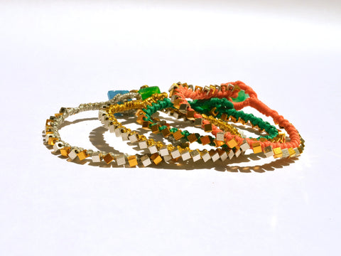 Metallic beaded friendship bracelet