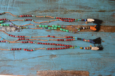 Vintage venetian glass and crochet necklace