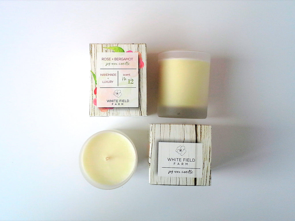 ROSE + BERGAMOT soy wax candle 7 oz