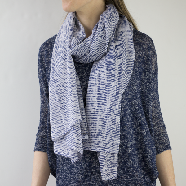 Tiny Dot Navy Block Printed Scarf