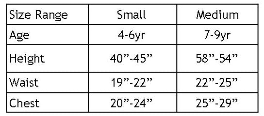 Youth Football Set Size Chart