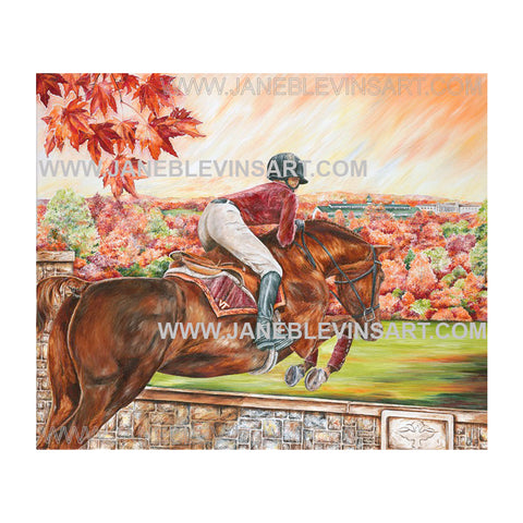 "Virginia Tech ""Equestrian Jumping  Hy"" Print by Jane Blevins"