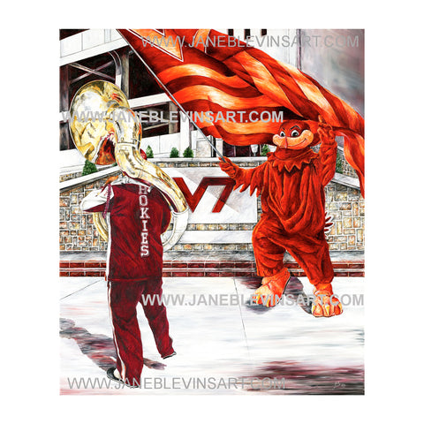 "Virginia Tech ""Hokie Pokey"" Print by Jane Blevins"