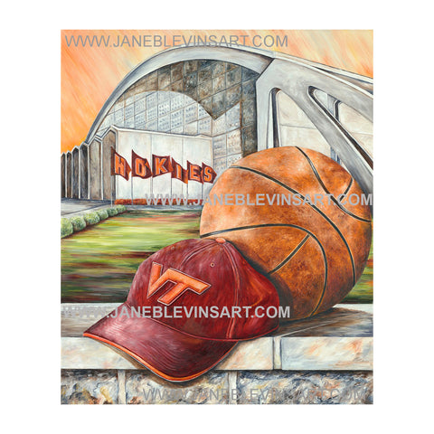 "Virginia Tech ""Hokie Hoops"" Print by Jane Blevins"