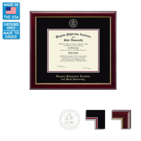 Virginia Tech Gallery Diploma Frame: FREE GROUND SHIPPING!
