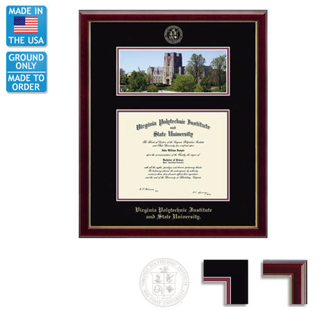 Virginia Tech Burruss Hall Diploma Frame: FREE GROUND SHIPPING!