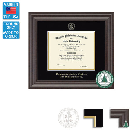 Virginia Tech Acadia Recycled Diploma Frame: FREE GROUND SHIPPING!