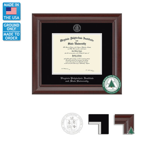 Virginia Tech Rainier Recycled Diploma Frame: FREE GROUND SHIPPING!