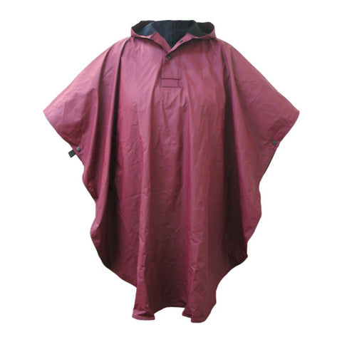 Maroon Hooded Rain Poncho by Charles River