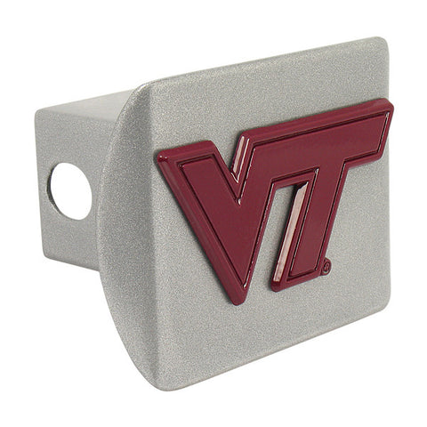 Virginia Tech Hitch Cover: Maroon on Brushed Chrome