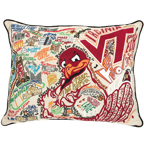 Virginia Tech Hand Embroidered Pillow: Extra Large
