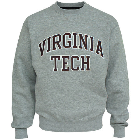 Virginia Tech Embroidered Twill Crew Sweatshirt: Oxford Gray by Gear