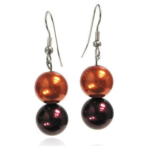 Maroon and Orange Bead Earrings