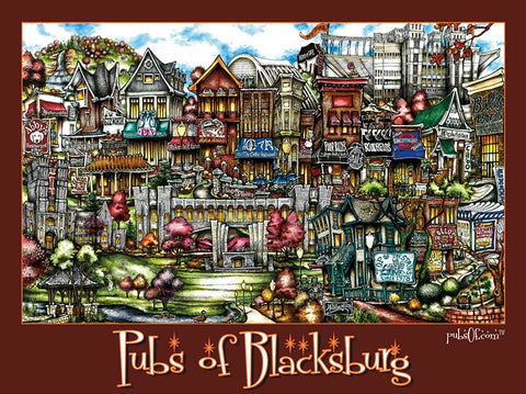 Pubs of Blacksburg Poster: Maroon Border