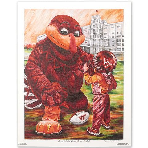 "Virginia Tech ""Every Buddy Loves Hokie Football"" Print by Jane Blevins"