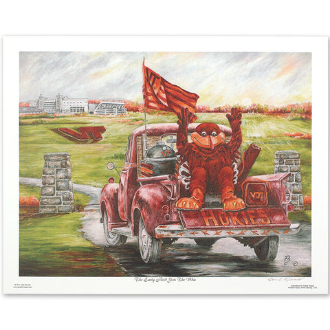 "Virginia Tech ""The Early Bird Gets The Win"" Print by Jane Blevins"