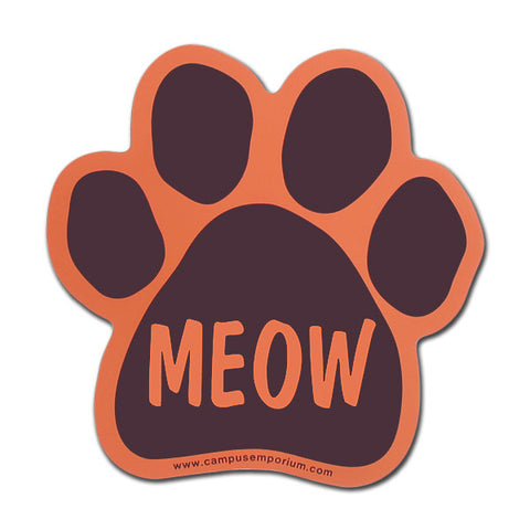 Maroon and Orange Meow Paw Magnet