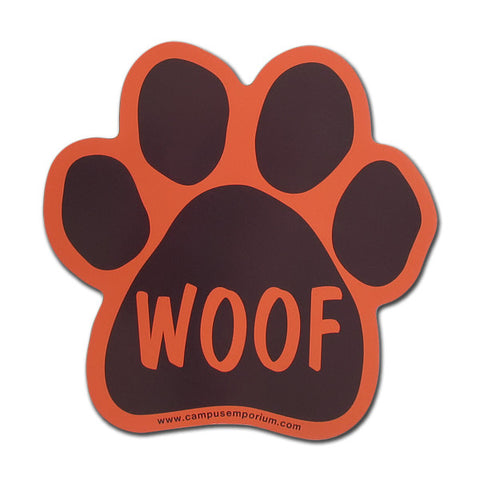 Maroon and Orange Woof Paw Magnet