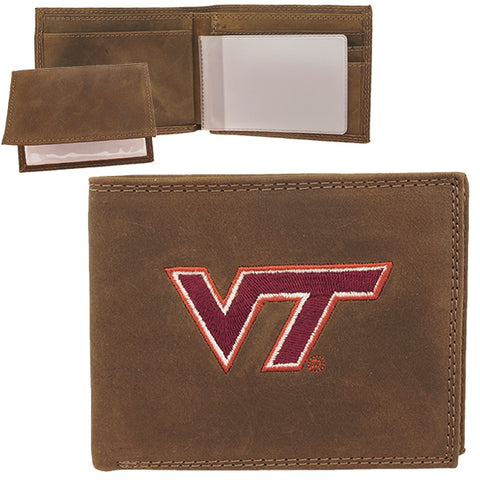 Virginia Tech Crazy Horse Bi-Fold Leather Wallet