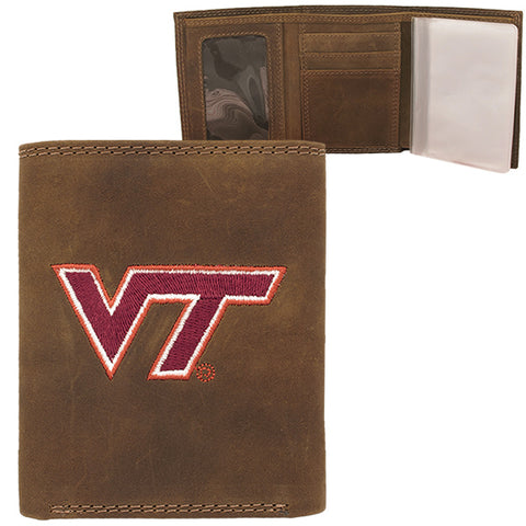 Virginia Tech Crazy Horse Tri-Fold Leather Wallet