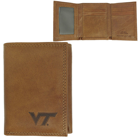 Virginia Tech Tri-fold Leather Wallet