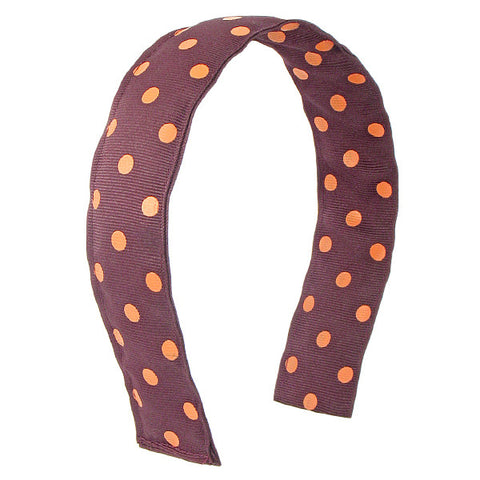 Maroon and Orange Polka Dot Headband