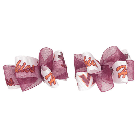 Virginia Tech Organza Mini Bow Barrettes