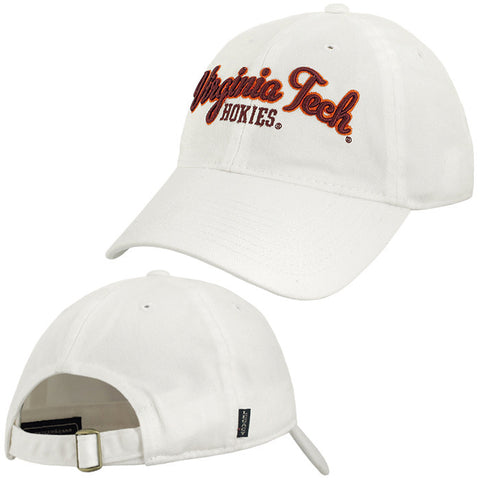 Virginia Tech Women's Twill Cursive Hat: White by Legacy