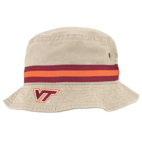 Virginia Tech Relaxed Twill Fitted Bucket Hat: Khaki by Legacy