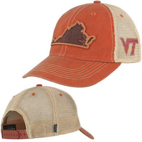 Virginia Tech State Trucker Hat: Orange by Legacy