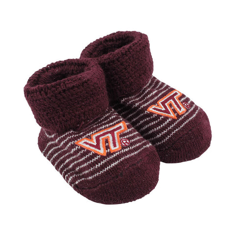 Virginia Tech Striped Baby Booties: Maroon