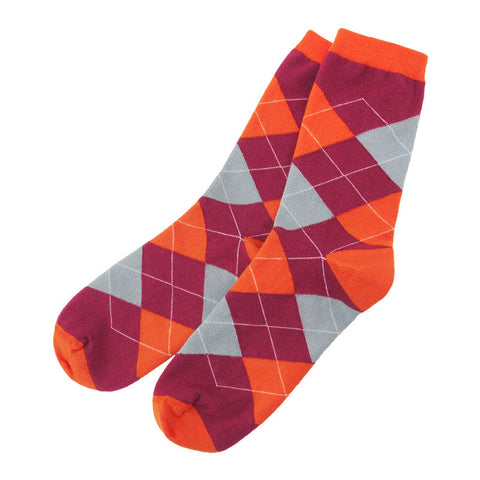 Maroon and Orange Argyle Socks