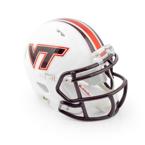 Virginia Tech Mini Replica Matte Striped Helmet: White by Riddell