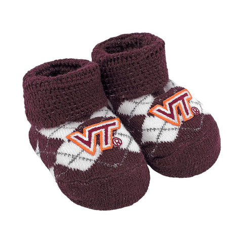 Virginia Tech Argyle Baby Booties