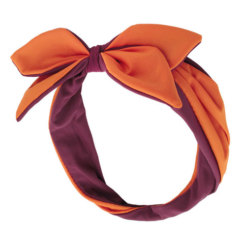 Maroon and Orange Twist Bow Headband