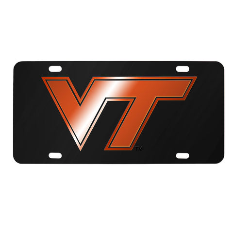 Virginia Tech Laser License Plate: Black with Orange Logo