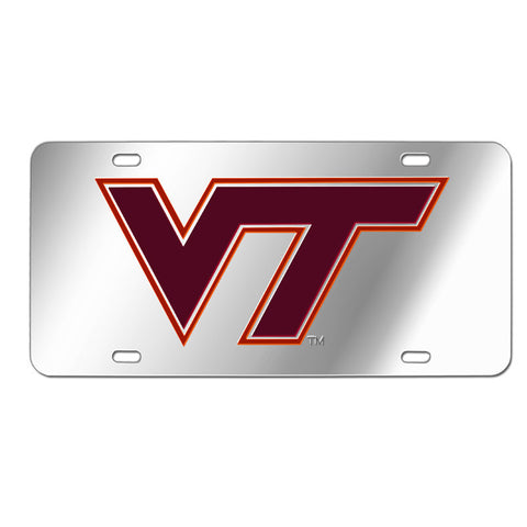 Virginia Tech Laser License Plate: Silver with Maroon Logo