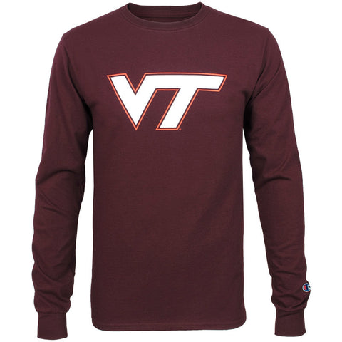 Virginia Tech Logo Long-Sleeved T-Shirt: Maroon by Champion
